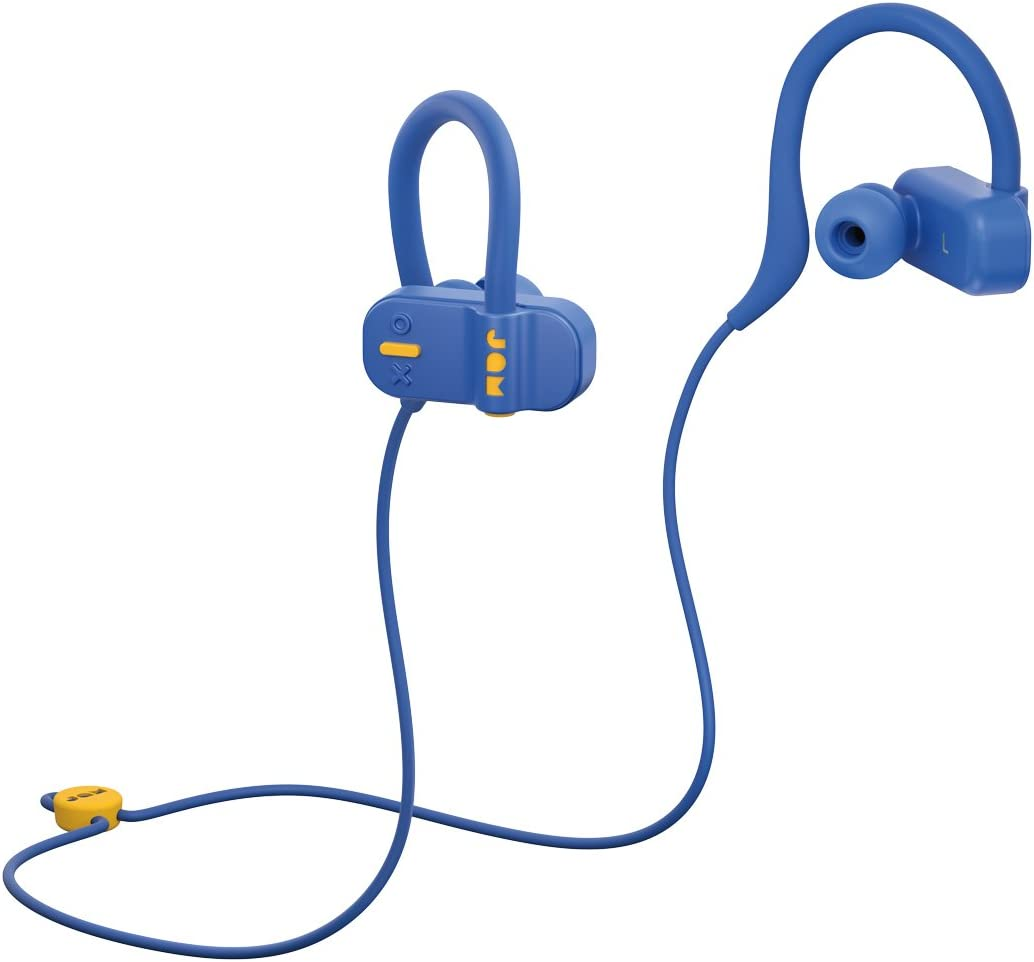 JAM Live Fast Workout Earphones 30 ft. Bluetooth Range, IP67 Sweat Resistant Earbuds 3 Sizes Included, 12 Hour Battery Life, Hands-Free Calling Blue HX-EP404BL