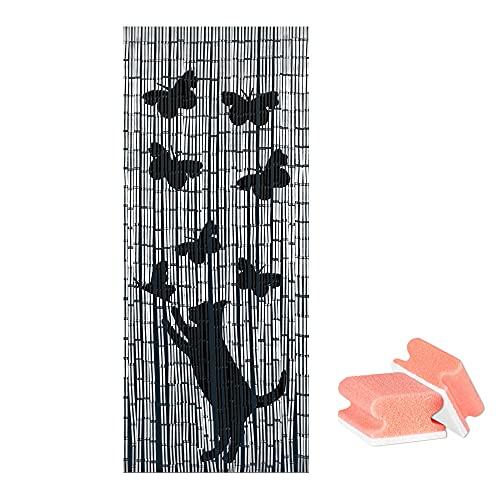 WENKO Bambusvorhang, Türvorhang mit Motiv, Katze und Schmetterlinge, Dekovorhang, Sichtschutz, Insektenschutz, Indoor und Outdoor, Handarbeit, einfache Aufhängung, mit Gratis 2er Set Schwämme
