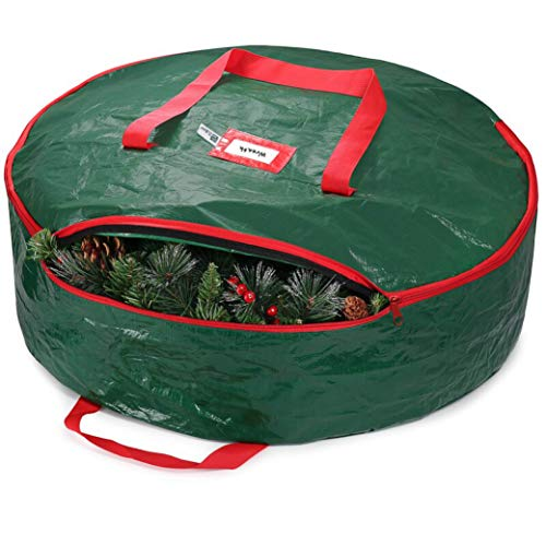 ZOBER Christmas Wreath Storage Container 30' - Water Resistant Fabric Storage Dual Zippered Bag for Holiday Artificial Christmas Wreaths, 2 Stitch-Reinforced Canvas Handles, (Green)