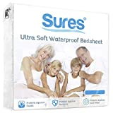 SURES Waterproof Mattress Protector - Super King Size Bedsheet - Fitted Machine Washable Bed Sheet - Hypoallergenic, Vinyl Free Bedwetting Cover Pad - For Child, Kids, Adult