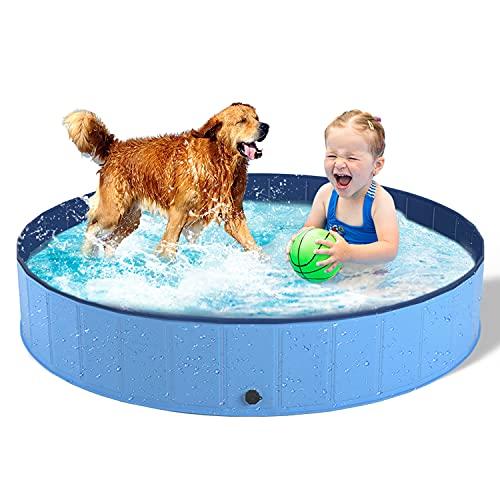 Dono Hundepool Schwimmbad Für Hunde und Katzen Swimmingpool Hund Planschbecken Hundebadewanne Faltbarer Pool PVC rutschfest (160cm(Dia) x 30cm(H))