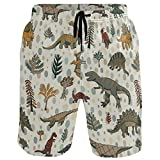 QUEMIN Men's Beach Short Vintage Dinosaur Plant Swim Trunks Sports Running Bathing Suits,(Size L)