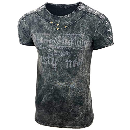 Herren Rundhals Vintage T-Shirt Kurzarm Slim Fit Design Fashion Top Print Shirt 15192, Farbe:Schwarz, Größe:2XL