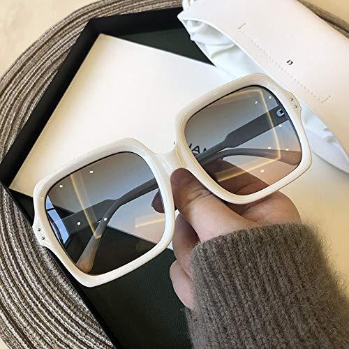 Secuos Gafas De Sol Cuadradas Grandes Vintage para Mujer, Gafas De Sol De Gran Tamaño para Hombre, Gafas Negras De Marca Famosa De Moda Femenina, Blanco