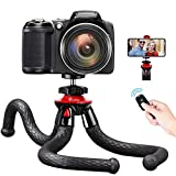 Phone Tripod, GooFoto Flexible Tripod with Wireless Remote 360° Adjustable Waterproof Cell Phone Tripod for Vlogging Video Live Streaming Small Tripod for Camera Tripod for iPhone, Android, Samsung
