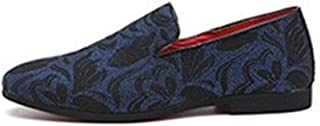 QinMei Zhou Fashion Driving Loafer for Men Casual Boat Shoes Slip on Cloth with Artistic Pattern Pointed Toe Flat Heel Classic Embroidery (Color : Blue, Size : 7.5 UK)