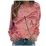 Sudadera Camiseta de Manga Larga con para Mujer Otoño Invierno Paisaje Gato Printng cálida Camiseta básica Pullover Blusas Tops