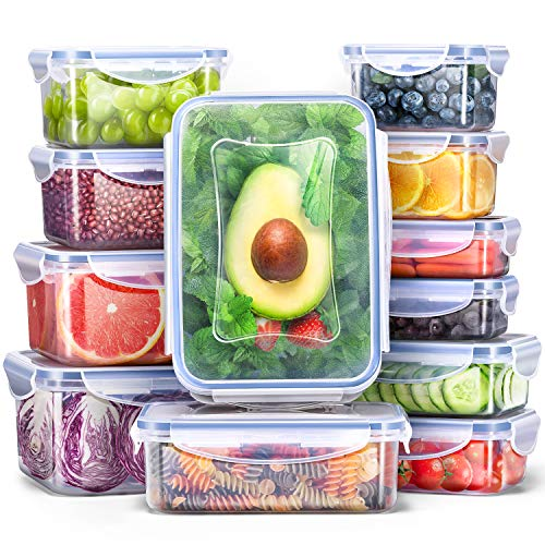 Veken Food Storage Containers with Airtight Lids, 12 Pack Plastic Reusable, Stackable Meal Prep Containers and Bento Lunch Boxes, Microwave, Freezer, Dishwasher Safe