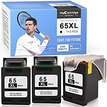 myCartridge SUPRINT Remanufactured Ink Cartridge Replacement for HP 65XL 65 XL Eco-Saver use with Envy 5055 5052 5012 DeskJet 3755 2622 3752 2655 2600 2652 2636 2642 3720 3722  Black 1 + 2 Pack