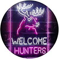 Welcome Hunters Deer Cabin Dual Color LED看板 ネオンプレート サイン 標識 白色 + 紫 300 x 400mm st6s34-i3313-wp