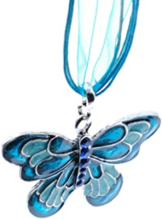 Aysekone Charm Fashion Alloy Butterfly Silk Ribbon Pendant Necklace Necklaces & Pendants Jewelry for Women Collar Necklaces(Blue)