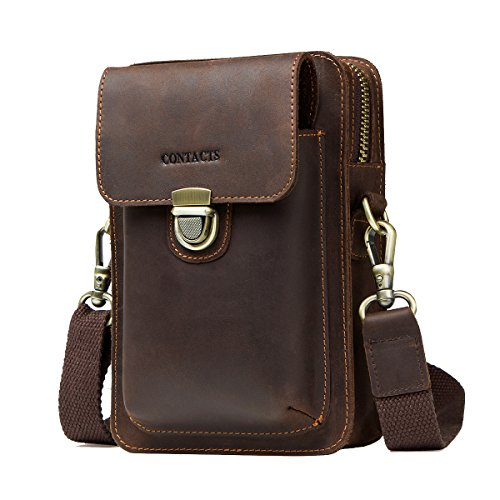CONTACT'S Men Waist Pack Small Shoulder Bag Belt Purse Genuine Leather Crossbody Travel Cell Phone Bag With Zipper Pocket Card Holder