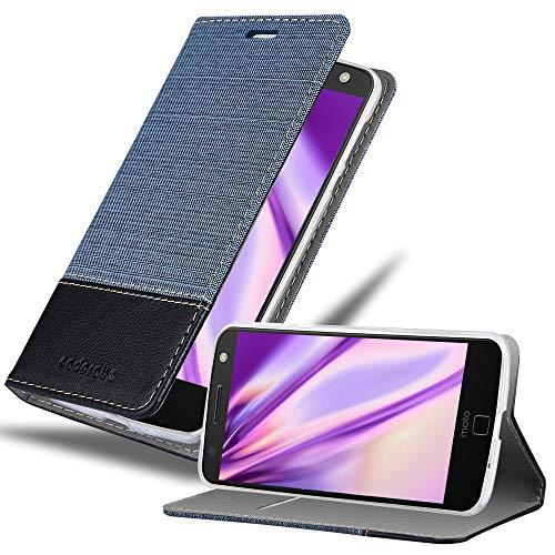 Cadorabo Hülle für Motorola Moto Z in DUNKEL BLAU SCHWARZ - Handyhülle mit Magnetverschluss, Standfunktion & Kartenfach - Hülle Cover Schutzhülle Etui Tasche Book Klapp Style