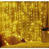 SUNNEST LED Lichterketten Lichtervorhang 300 LEDs USB Vorhanglichter String Light 8 Modi mit Fernbedienung Timer IP68 für Deko Innenbeleuchtung Warmweiß - 6