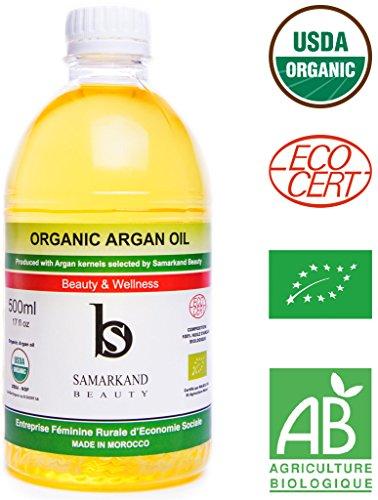 500 ml Aceite de Argán BIO 100% Puro con Certificado Ecológico Ecocert Primera Presión en Frío para Pelo y Piel - El Original de Marruecos