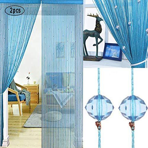 UNIAI Fadenvorhang Fadengardine Vorhang Perlenvorhang - 2er Pack Tür Perlen Vorhänge 100x200cm Raumteiler Anti-Moskito