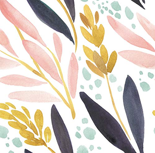 HaokHome 93027 Watercolor Forest Peel and Stick Wallpaper Removable White/Pink/Navy/Yellow Floral Vinyl Self Adhesive Shelf Liner 17.7in x 9.8ft