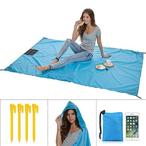 Uni-Wert Stranddecke Picknickdecke Campingdecke Strandtuch 200 x 140 cm Ultraleicht Decke mit Tasche Wasserdicht und sandabweisend (Blau-1)