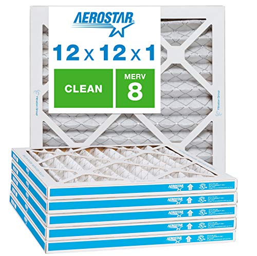 Aerostar Clean House 12x12x1 MERV 8 Pleated Air Filter Made in the USA Actual Size 11 3/4'x11 3/4'x3/4' 6 Pack,White