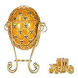 huevo de coronación ruso de Estilo Faberge / caja de joya con carruaje y el Águila imperial 19 cm amarillo