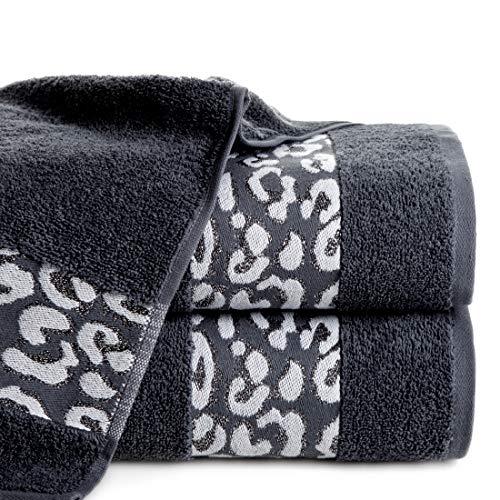 Eurofirany handdoek katoen zacht 70x140 cm luipaardpatroon glitter metalen naad borduurset 3-pack Oeko-Tex, staalgrijs, 70x140cm, 3 stuks
