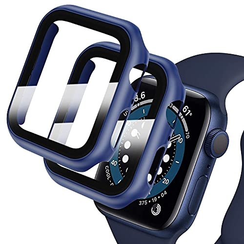 Deilin [2Pack] Hard PC Case with Tempered Glass Screen Protector Compatible with Apple Watch Series 6/5/4/SE 44mm, Case for All Around Coverage Protective Bumpers Cover for iWatch Series SE/6/5/4 44mm