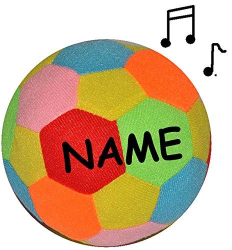 alles-meine.de GmbH großer bunter Softball / Stoffball - mit Rassel -  lustiger bunter Ball  - incl. Name - Ø 14 cm - Veloursball - Rasselball - Fitnessball Knautsch / Stressba..