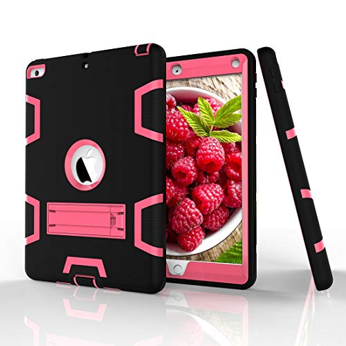 GUODONG Tablet PC Case Shockproof Heavy-Duty Rubber High-Strength Sturdy and Durable Hybrid Three-Layer Full Body Protective Case for iPad 5/AIR Built-in Shockproof Support Tablet Back Cover