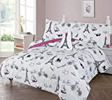 GorgeousHomeLinen Boys Girls Teens Twin 6PC Comforter Bedding Set with Matching Sheets and Small Decorative Pillow Bed Dressing for Kids (Paris White)