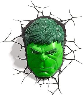 FF LIGHTS Luz De Pared 3D Avengers 4 Marvel Hulk Máscara Luz De Noche Lámpara De Pared De La Novedad De Los Niños Luz De Noche De Los Niños
