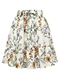 Women's Floral Print High Waist with Drawstring Ruffle Flared Boho A Line Skater Mini Skirt White Flower L
