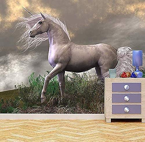 Wandaufkleber Wandtattoo WohnzimmerWeißs Einhorn Wandbild Fototapete mädchen Schlafzimmer