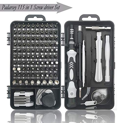Padarsey Precision Screwdriver Set 115 in 1 Repair Tools Kit with Magnetic Driver Kit,Electronics Precision Screwdriver Set with Portable Bag for Repair Computer, Cell Phone, PC, iPhone,Lap Black