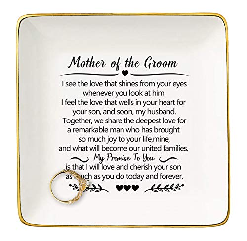 Gift for Mother of The Groom from Bride - I See The Love That Shines from Your Eyes Whenever You Look at Him - Wedding Gifts - Bridal Shower Gifts - Ceramic Jewelry Holder Ring Dish Trinket Box Tray