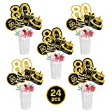 Black Gold 80th Birthday Centerpiece Sticks-80th Birthday Table Toppers -Birthday Party Decorations Accessories-80th Bday Centerpiece Sticks-Cheers to 80 Years Birthday Party Favor Table Supplies 24PCS