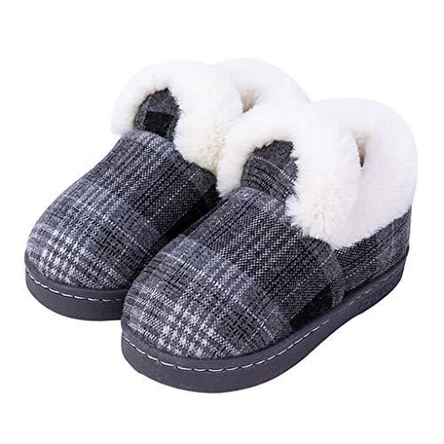 NXYJD Zapatillas de algodón de Punto for niños Zapatos de Interior de Tela de Invierno for niños, niñas, mantengan Calientes, sin Deslizamiento, niños, Peluche, Zapatillas de Piso de casa