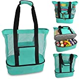 Ladies Picnic Bag Mesh Refrigerator Compartment Oversized Zipper Closed Beach Tote Bag 2 in 1 High Capacity Double-layer Heat Preservation Large Beach Bags holiday beach park sports bags (Green)