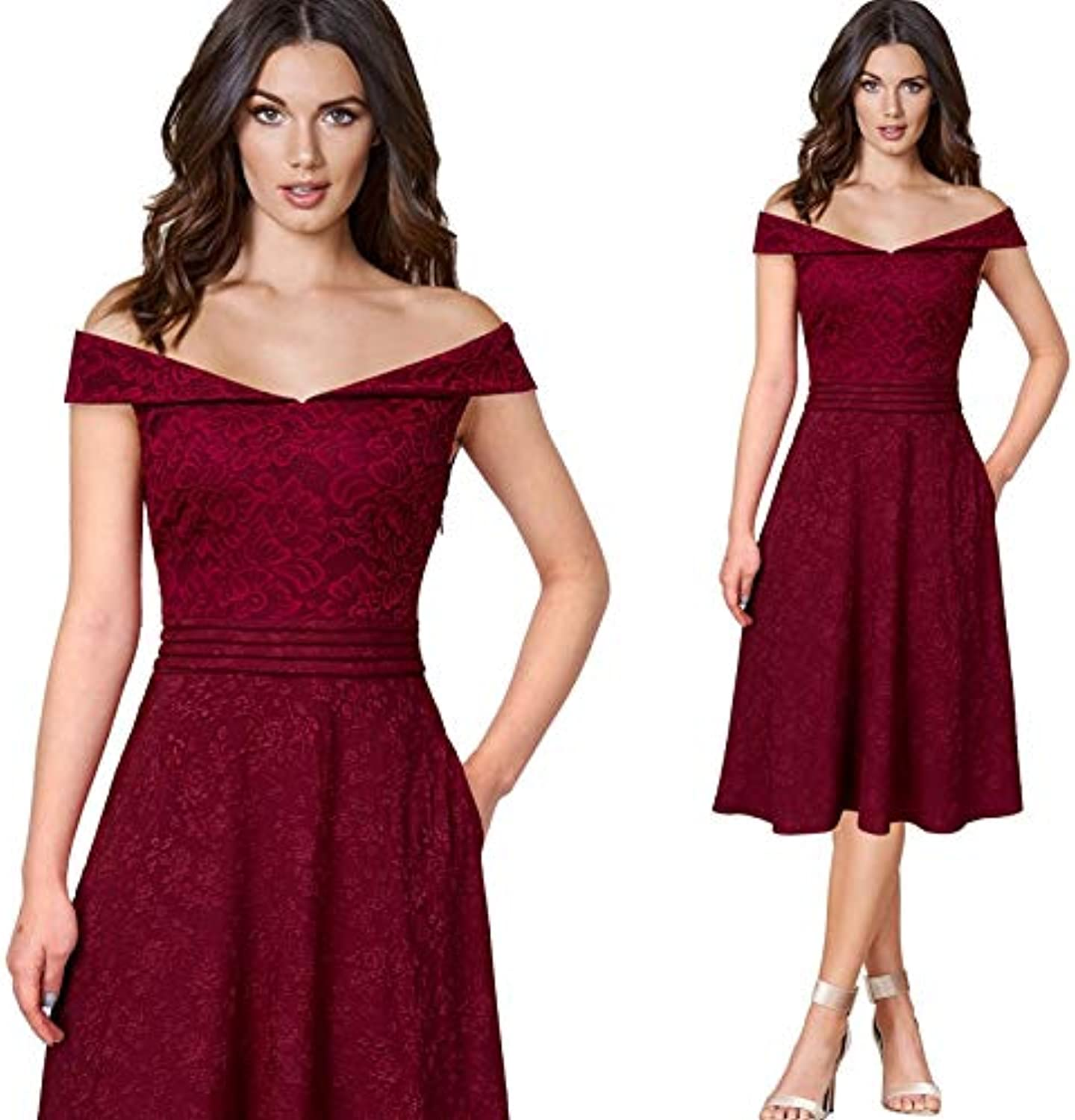 MTBDLYQ Woman'S Dress,Women Off Shoulder Floral Lace Dobby Fabric Patchwork Pockets Cocktail Party Club A-Line Dress