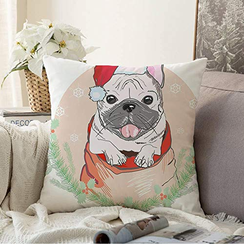 Decorative Pillow Cover Black Cute Trendy French Bulldog Red Christmas Animals Wildlife Accessory Cap Design Character Dog Cozy Soft Square Throw Pillow Cases for Bed Couch Home Decor 16x16 Inch