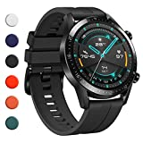 YHC Correas para Huawei Watch GT2 Sport Elegant 46mm/GT 2e,Compatible con Huawei Watch GT Sport Active Classic 46 mm (01-Negro)
