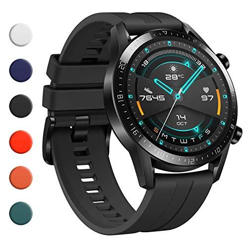 YHC Correas para Huawei Watch GT2/GT2 Classic/GT2 Pro 46mm,Compatible con Huawei Watch GT 2e/GT Sport Active 46 mm (01-Negro)
