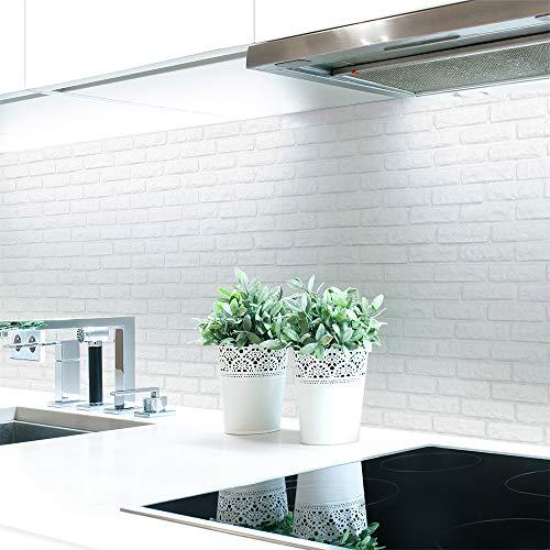 Küchenrückwand Ziegelwand Weiß Premium Hart-PVC 0,4 mm selbstklebend - Direkt auf die Fliesen, Größe:Materialprobe A4
