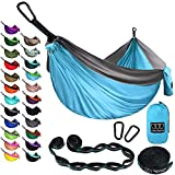 Gold Armour Camping Hammock - Extra Large Double Parachute Hammock USA Based Brand Lightweight Nylon Adults Teens Kids, Camping Accessories Gear (Sky Blue and Gray)