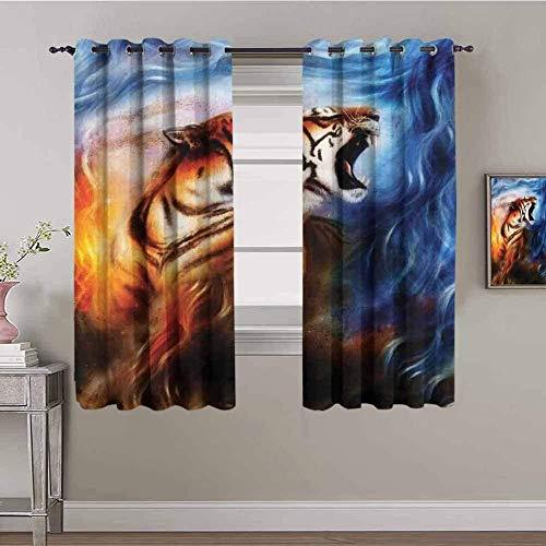 Nileco Cortinas de Opacas - Azul llama animal tigre - 280x160 cm - 3D Impresión Digital con Ojales Aislamiento Térmico - para Sala Cuarto Comedor Salon Cocina Habitación