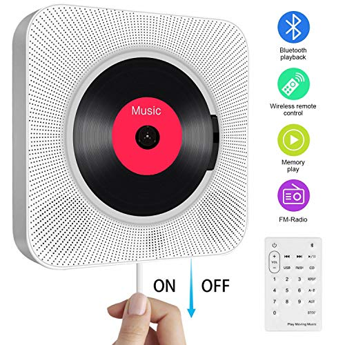 Portable CD Player with Bluetooth,Wall Mountable Built-in HiFi Speakers,...