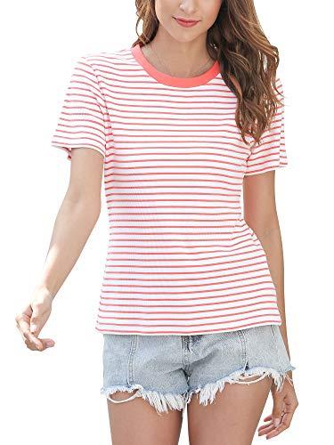 MessBebe Camiseta Mujer Manga Corta Blusa Rayas Cuello Redondo tee Tops Camisa Casual para Mujer