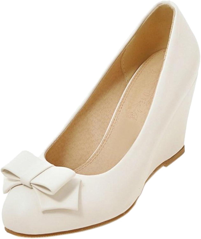 RizaBina Women Solid Wedge Heel Pumps Bow