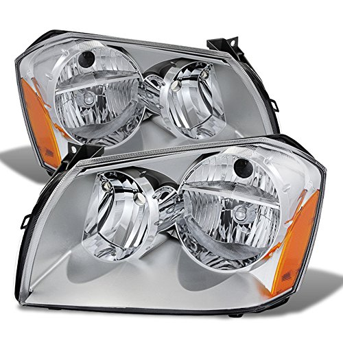 ACANII - For 2005-2007 Dodge Magnum OE Chrome Housing Headlights Headlamps Assembly Replacement Pair Set Left+Right