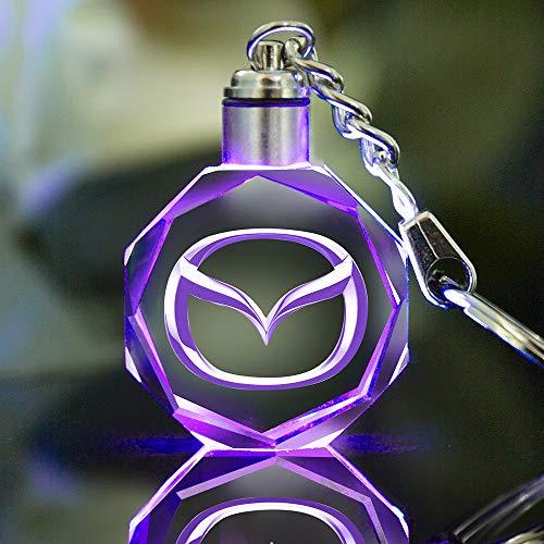 VILLSION LED Auto-Logo Schlüsselanhänger Emblem Keychain Mehrfarbig Kristall Licht Umfassen Geschenkbox