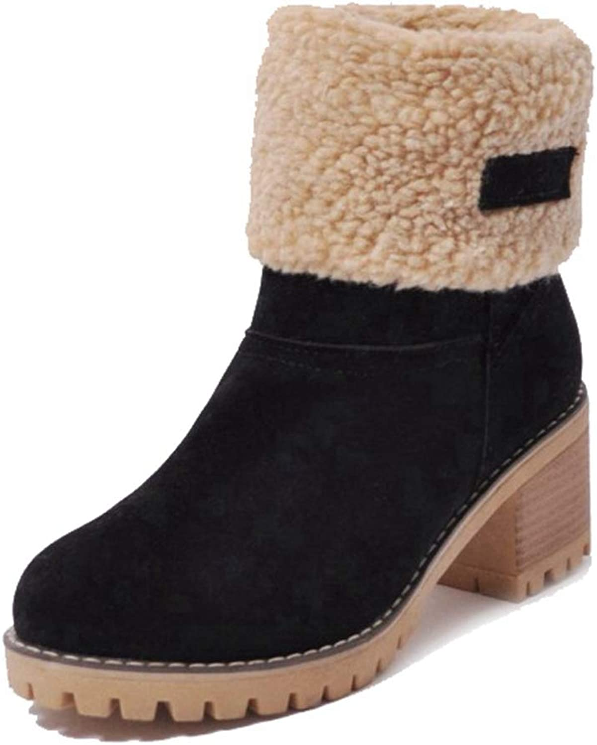 CYBLING Womens Warm Short Boots Suede Chunky Mid Heel Round Toe Pull On Winter Snow Ankle Booties